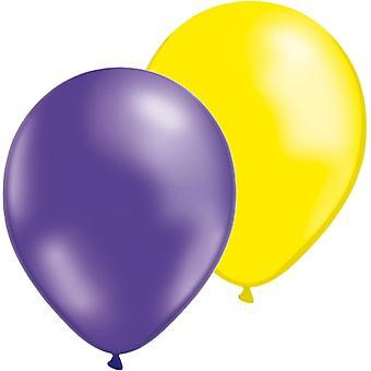 Mezclan de globos paquete de 24 amarillo y morado metálico