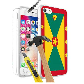 For Apple iPhone 7 - Grenada Flag Design Printed White Case Skin Cover with Tempered Glass - 0068 by i-Tronixs