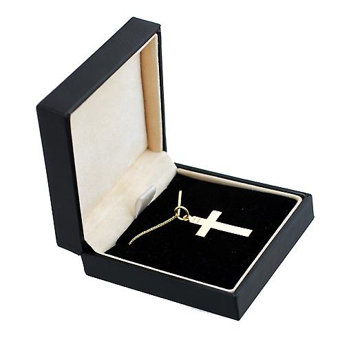 18ct Gold 24x14mm plain flat latin Cross with a curb Chain 16 inches Only Suitable for Children