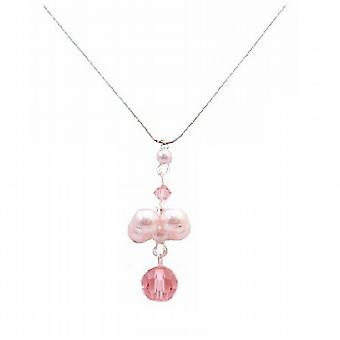 Drop Down Pendant Necklace Wedding Gift Swarovski Rosaline Pearls & Rose Crystal