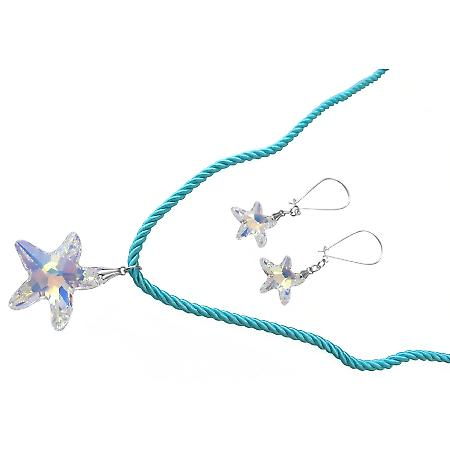 Crystals Star Necklace Swarovski AB Star Pendant Earrings Jewelry Set