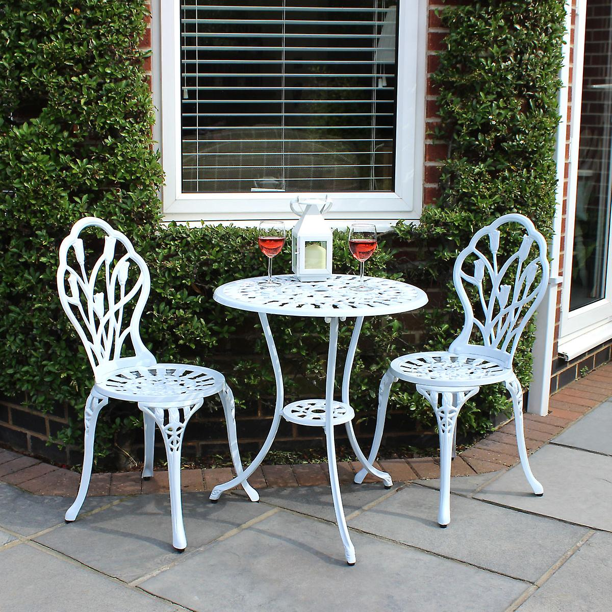 ChaisesBlanc Charles Patio Set Tulipe Jardin Bentley Pièce Cast Tableamp; Bistro 2 3 Aluminium q4A5Sc3RjL
