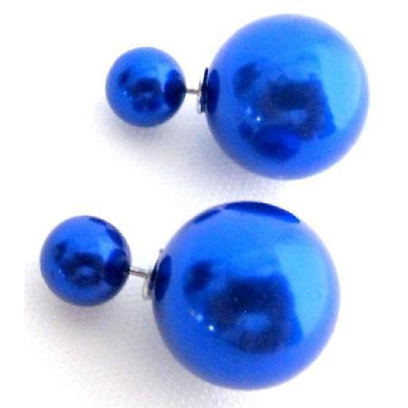 Wedding Dark Blue Pearl Jewelry Double Sided Earrings