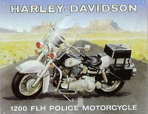 Harley Davidson Police Bike Steel Sign   (fd)