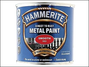 Hammerite Direct to Rust Smooth Finish Metal Paint Red 250ml