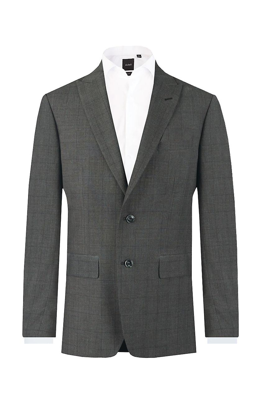 Dobell Mens Charcoal Suit Jacket Regular Fit Peak Lapel Windowpane Check