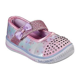 Kids Girls Skechers Twinkle Toe Twinkle Plat Starry Spark Bow Trainers