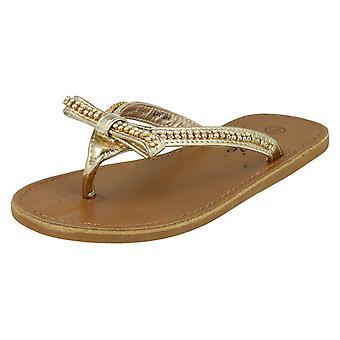 Girls Cutie Qt Toe Post Sandals H0041 Gold UK 10