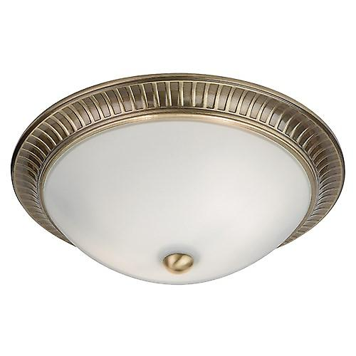 Endon 91123 Modern Flush Ceiling Fitting Antique Brass And Opal Glass