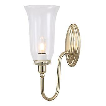 Elstead-1 lys badeværelse væg lys poleret messing IP44-bad/BLAKE2 PB