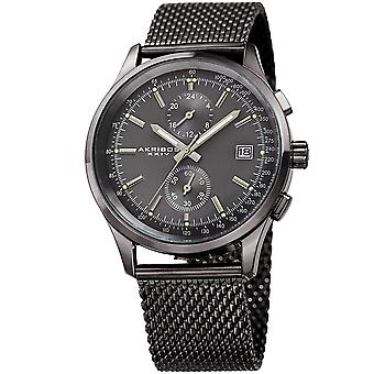 Akribos XXV AK944GN Men's Swiss Quartz Multifunction Tachymeter Gray Stainless Steel Bracelet Watch