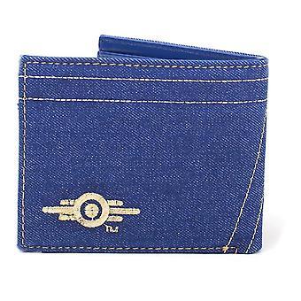 Fallout Embroidered Vault 76 Vintage Denim Bi-Fold Wallet One Size - Blue