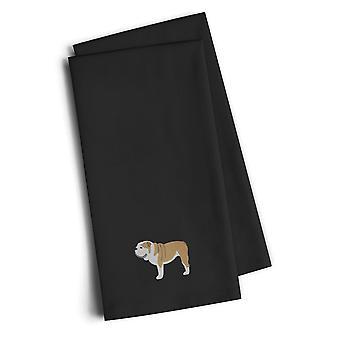 English Bulldog Black Embroidered Kitchen Towel Set of 2