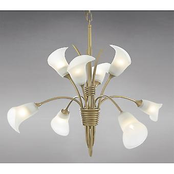 Ancona Pendant 8 Light Satin French Gold/frosted Glass