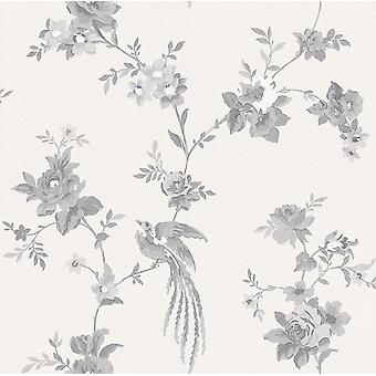 Rasch Black White Floral Wallpaper Flower Leaf Birds Branches Animal Paste Wall