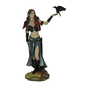 Morrigan Celtic Goddess of Battle w/Crow & Sword Hand Painted Statue