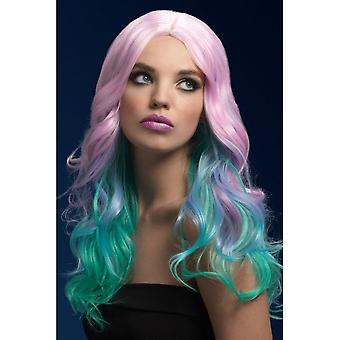 Smiffy's Fever Khloe Wig, Pastel Ombre, Long Wave With Centre Parting, 26inch/66cm