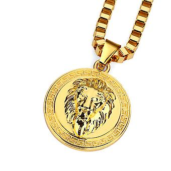 Lion gold coin necklace