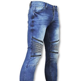 Tight mens jeans-billiga Biker jeans män-3009-blå