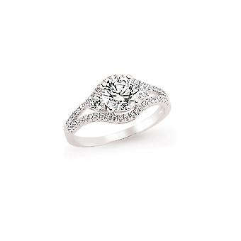 Jewelco London Rhodium Plated Silver Round Brilliant Cubic Zirconia Split Shoulder-Set Solitaire Engagement Ring