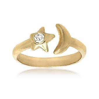 14 k Gelb Gold Zirkonia Top einstellbar Mond und Sterne Körper Schmuck Zehenring