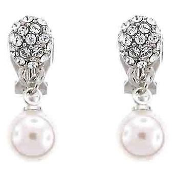 Clip On Earrings Store White Pearl and Crystal Teardrop Clip on Earrings