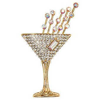 Butler  and  Wilson Vintage Small Crystal Champagne Glass Brooch  Gold