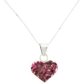 Shrieking Violet Sterling Silver Real Pink Heather Flower Love Heart Pendant
