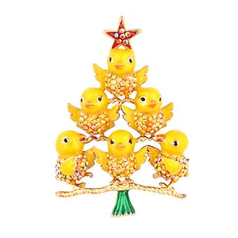 Butler & Wilson Crystal & Enamel Birds Tree Brooch