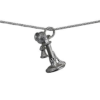 Silver 22x10mm 1930s Telephone Pendant with a curb Chain 16 inches Only Suitable for Children