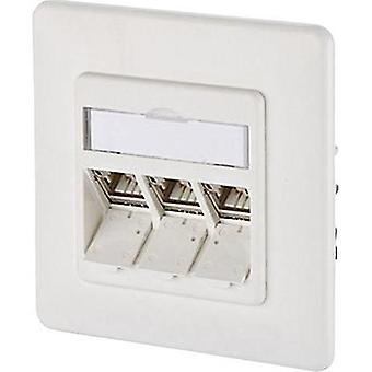 Network outlet Flush mount Insert with main panel and frame CAT 6A 3 ports Metz Connect Pure white