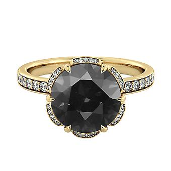 14K Yellow Gold 2.00 CTW Black Diamond Ring with Diamonds Flower Vintage Unique