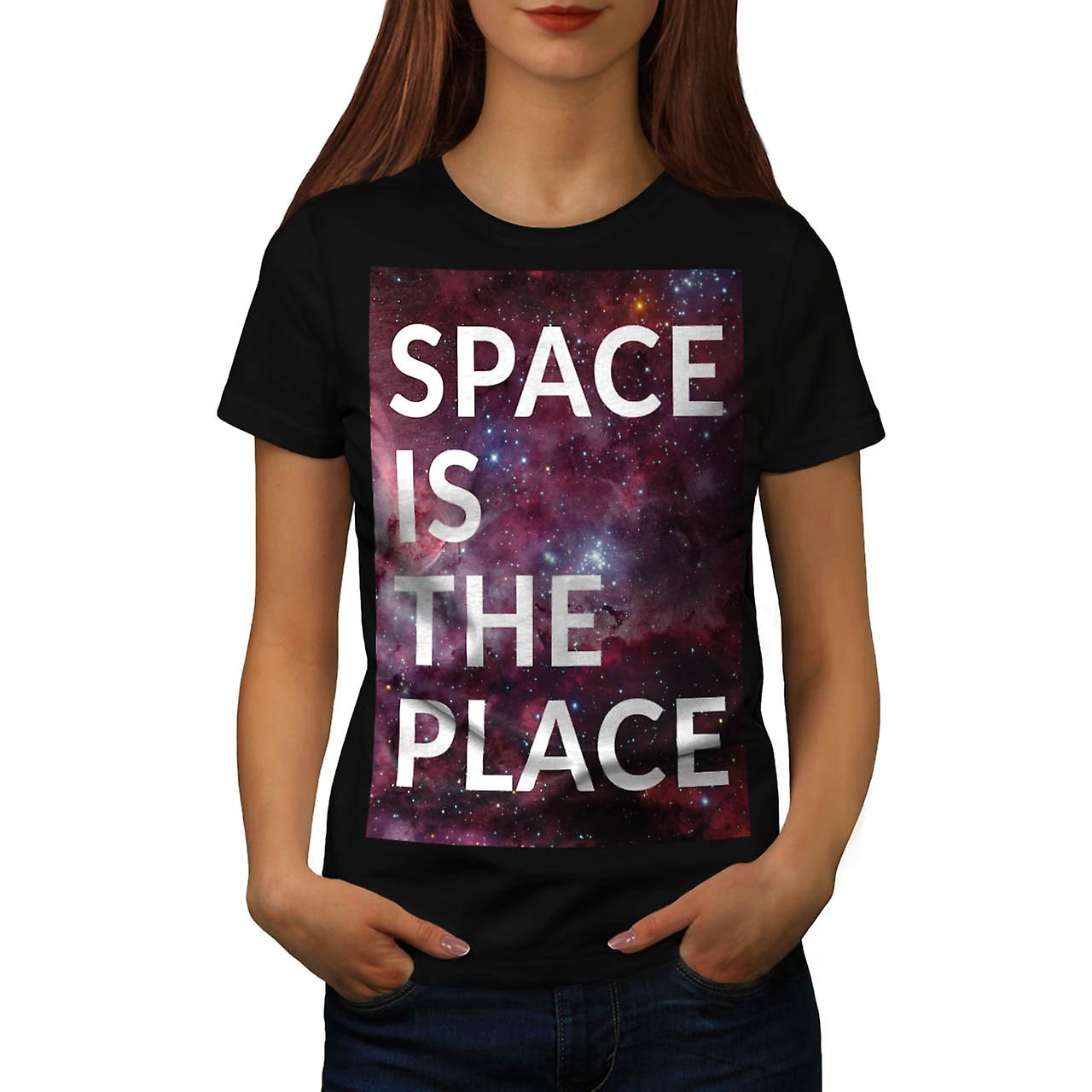 Space Is The Place Fun Big Planet Women Black T-shirt | Wellcoda