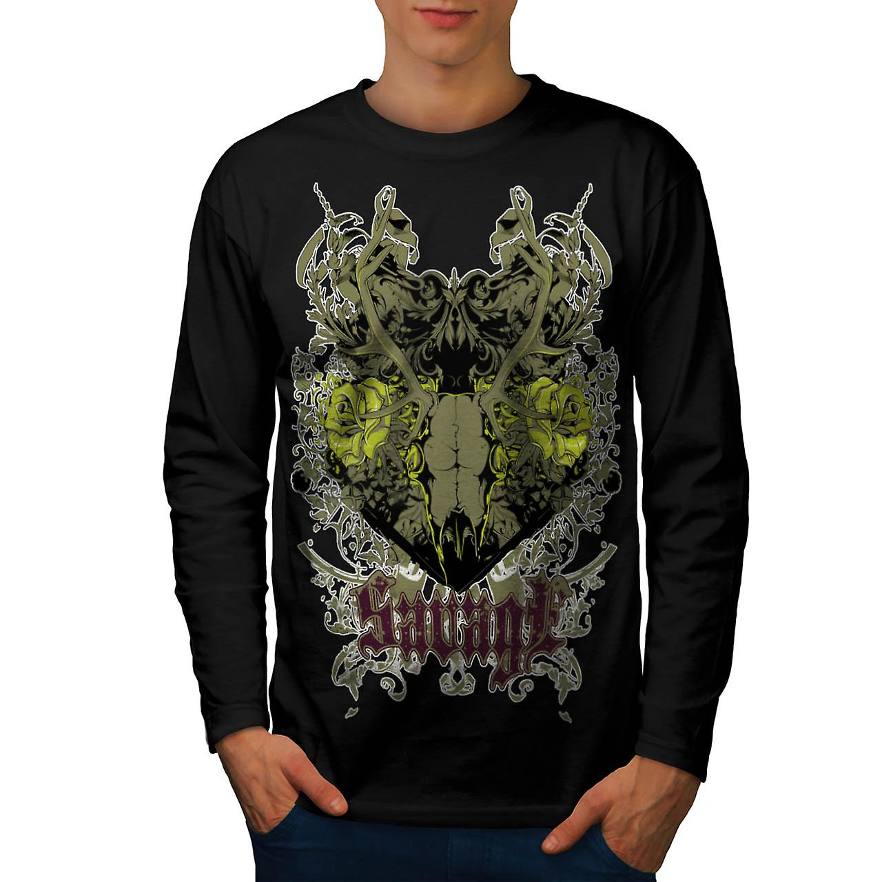 Savage Animal Skull Goat Head Men Black Long Sleeve T-shirt | Wellcoda