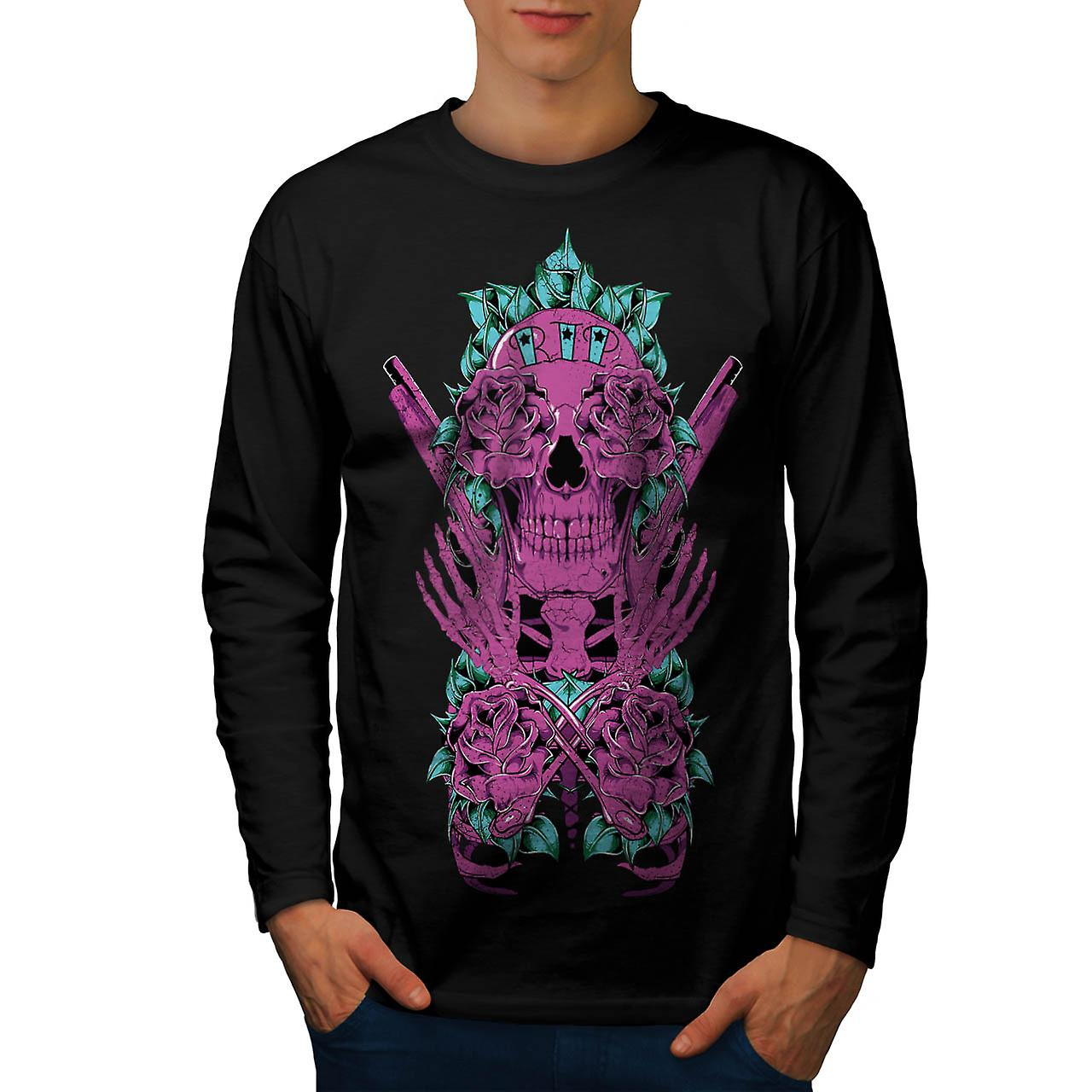 RIP Graveyard Skull Burial Land Men Black Long Sleeve T-shirt | Wellcoda