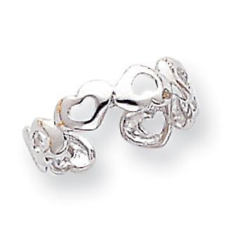 14k wit goud gepolijst hart Toe Ring -.9 gram