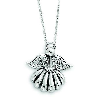 Sterling Silver Antiqued Cubic Zirconia Angel Necklace - 18 Inch