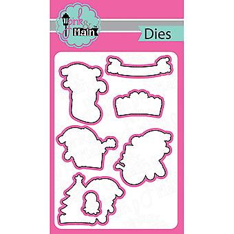 Pink And Main Dies-Santa Paws, 7/Pkg PNM053
