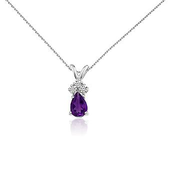 14k White Gold Amethyst Pear Pendant with Diamonds and 18