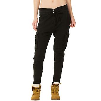 Tapered Leg Linen Mix Cargos - Black