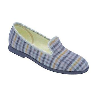 GBS Everett Check Classic Mens Slippers Textile Rubber Slip On Fastening Shoes