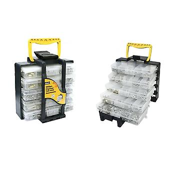 1000pc Organiser Tote With Assortments 5 Tray DIY Box Screw Fixtures