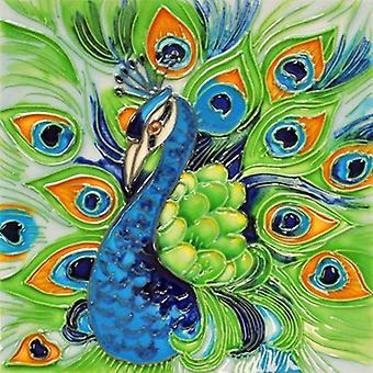 Proud Peacock Ceramic Tile 4 Inches