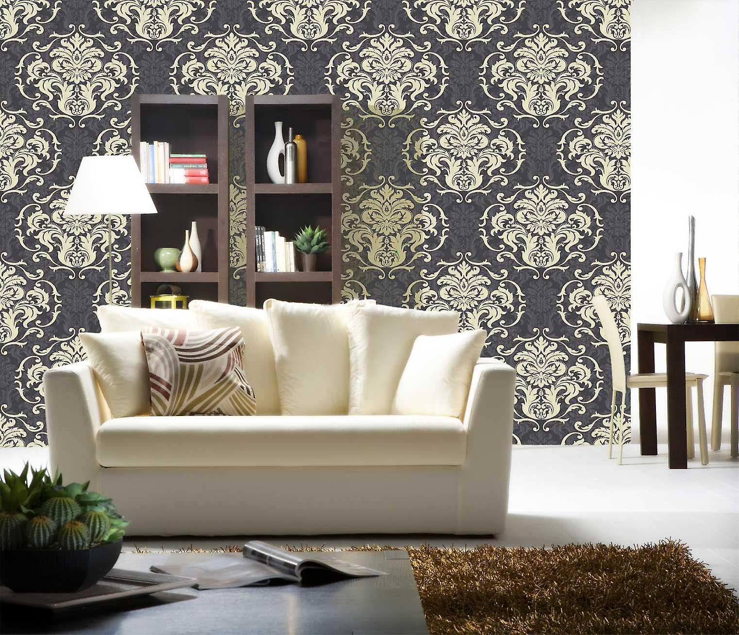 Damask Wallpaper Chelsea Design From Debona in Charcoal and Cream