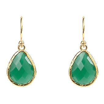 925 Sterling Silver Small Dangle Drop Earrings Gold Dark Green Onyx Hook Emerald