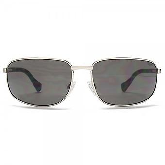 SUUNA Baja Rectangle Wrap Sunglasses In Silver