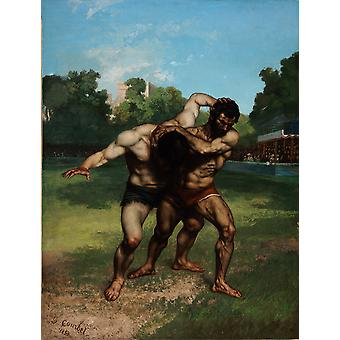 Gustave Courbet - The Wrestlers Poster Print Giclee