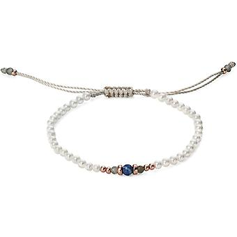 925 Silver Pearl And Lapis Rose Gold Plated Bracelet