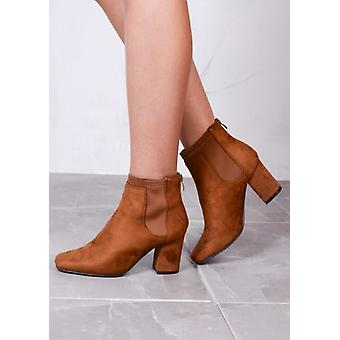 Suede Heeled Ankle Boots with Elasticated Sides Camel Brown