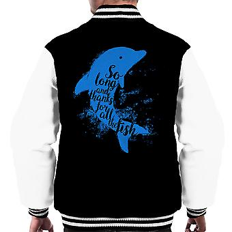 So Long And Thanks For All The Fish Hitchhikers Guide To The Galaxy Men's Varsity Jacket